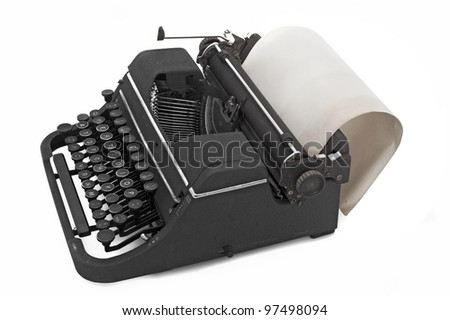old vintage typewriter with paper - stock photo