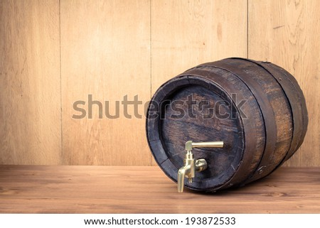 Old vintage wood barrel - stock photo