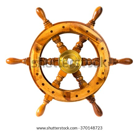 Old vintage wooden steering sheep wheel, isolated on white background - stock photo