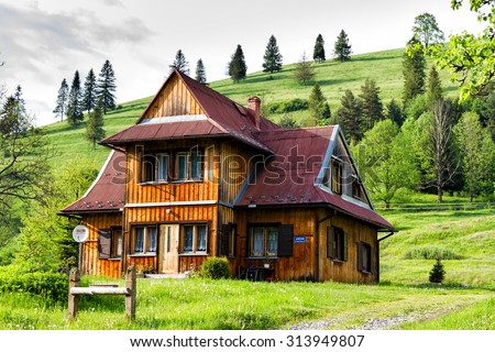 Old vintage wooden traditional house in the mountains in pieniny mountains poland stock photo - Traditional polish houses wood mastership ...