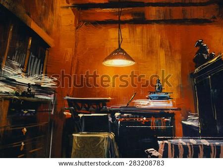 old vintage workspace in orange room,digital painting - stock photo