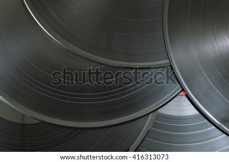 Old vinyl records on a pile - stock photo
