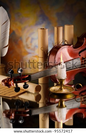 old violin and other retro items - stock photo