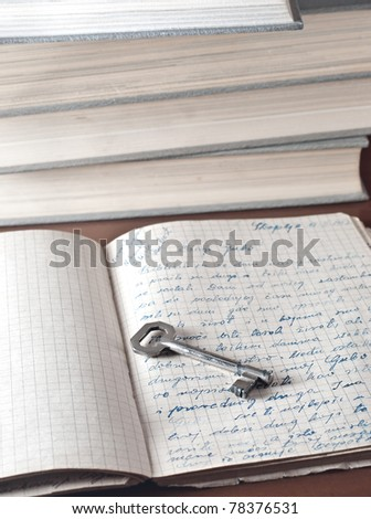 old volumes and key on the top - stock photo