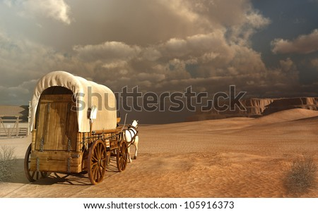 Old wagon in the desert - stock photo