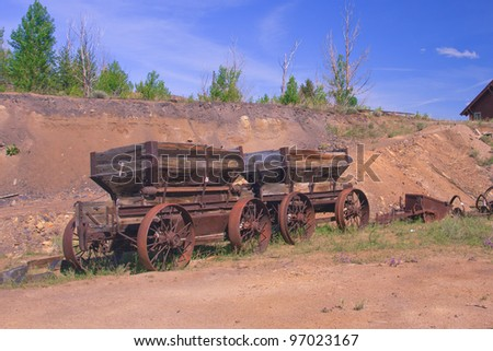 Old wagons at World Museum Of Mining, Butte, Montana - stock photo