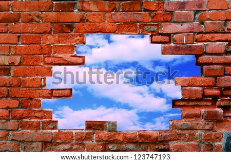 old wall and blue sky with clouds. Uneven diffuse lighting version. Design component - stock photo