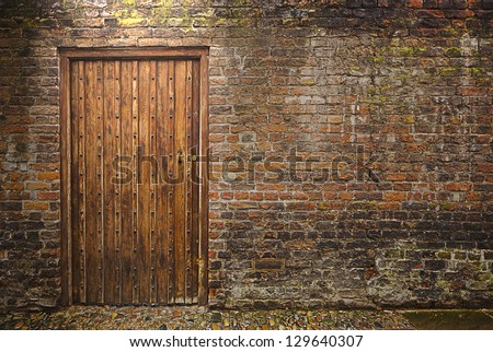 Old wall and door - stock photo