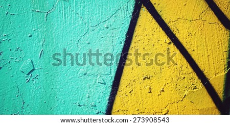Old wall background - vintage photo. Colorful paint background - toned effect. Graffiti closeup background  - retro filter. Wide photo for web site slider. - stock photo