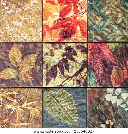 Old wall ceramic tiles patterns handcraft from thailand public. - stock photo