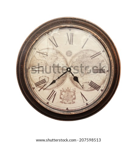 Old wall clock on a white background - stock photo