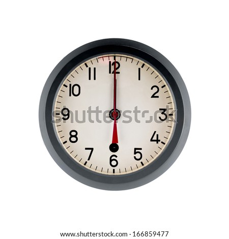 Old wall clock. Soviet Navy. show the twelve o'clock. Isolated on white background. - stock photo