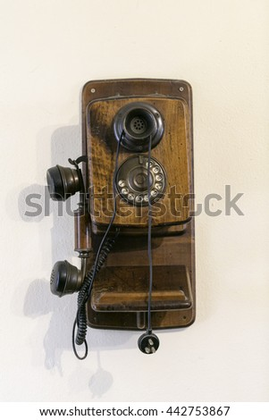 old wall phone  - stock photo
