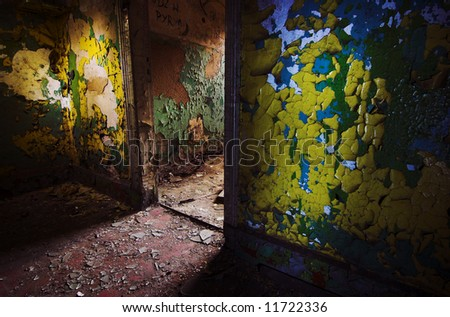 Old walls in old factory - stock photo