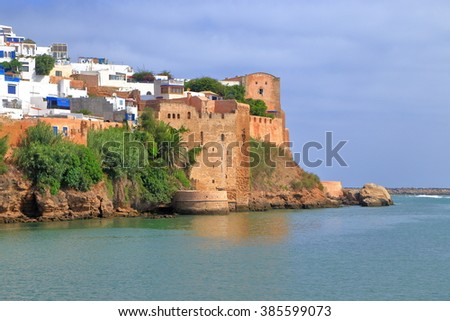 Old walls of the Kasbah of the Udayas surrounded by Bou Regreg river in Rabat, Morocco - stock photo