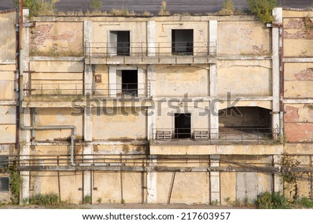 old warehouse ruins - stock photo