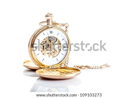Old watch isolated on white background - stock photo