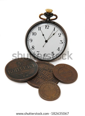 old watches and vintage royal zolirovannye money on a white background - stock photo