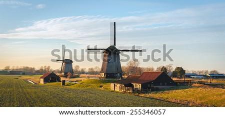 Old water mills beside Eilandspolder in evening light, the Netherlands - stock photo