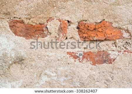 Old weathered brick wall fragment texture background, shallow depth of field, selective focus (detailed close-up shot) - stock photo