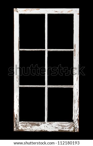 Old weathered 6 pane window isolated on black for ease of extraction - stock photo