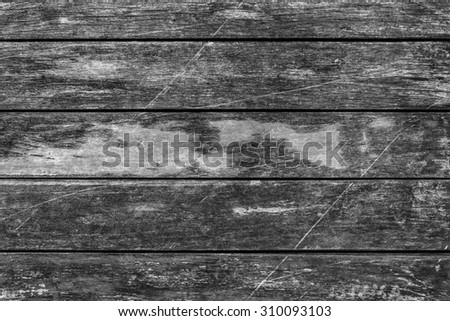 Old Weathered, Rotten, Cracked Planking, Bleached and Stained Gray, Vignette Grunge Texture Detail. - stock photo