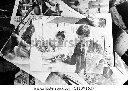 Old wedding photos of Soviet times - stock photo