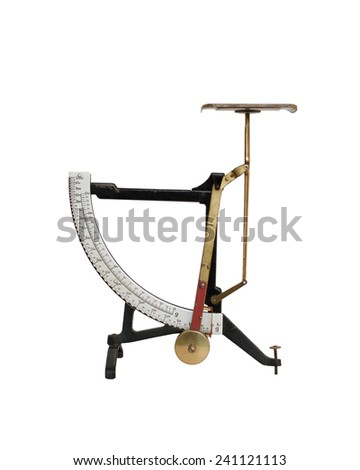 Old weight scale, isolated on white background - stock photo