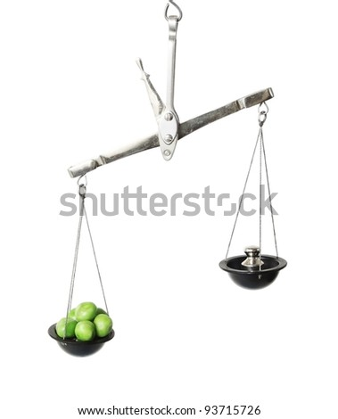 Old weight scales with peas isolated on white background. - stock photo