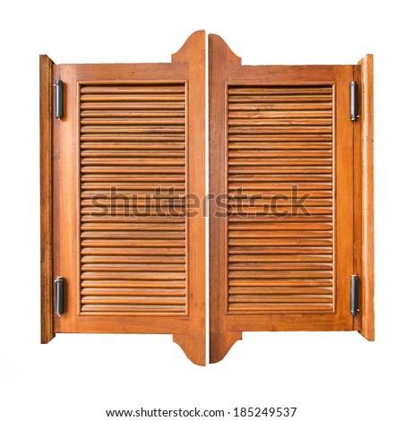 Old Western Swinging Saloon Doors. isolated on white. - stock photo