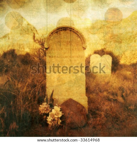 """Old western tombstone with textures and rising """"souls"""". Photo based illustration. - stock photo"""