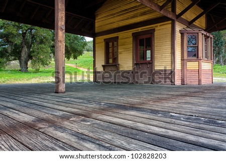 Old Western Train Station - stock photo