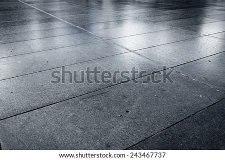 Old wet stone paved avenue street road, low angle after rain - stock photo