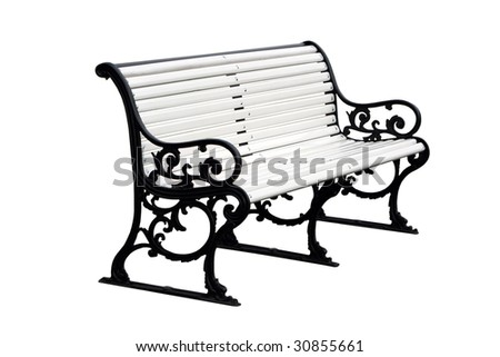 Old white bench isolated on white - stock photo