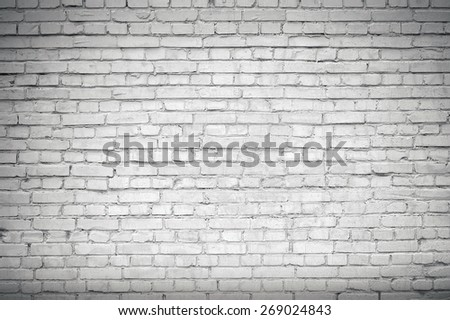 Old white brick wall texture - stock photo