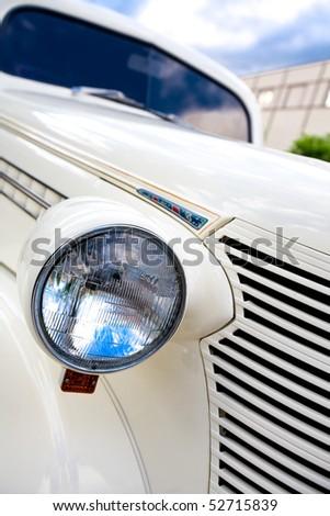 Old white car - stock photo