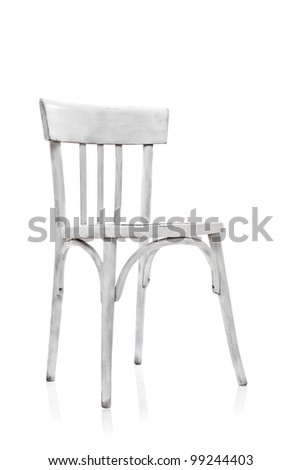 Old White Chair on white background - stock photo