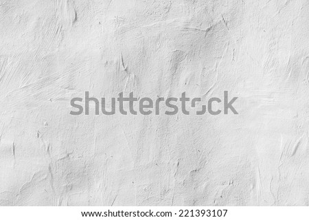 Old white concrete wall with plaster, seamless background photo texture - stock photo