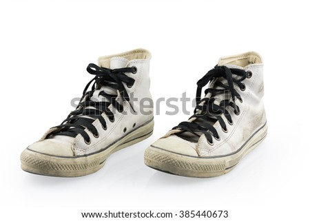 old white shoes on white background with clipping path - stock photo