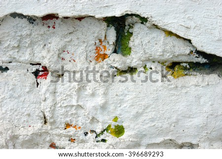 Old white wall detail / Building wall as grunge background  - stock photo
