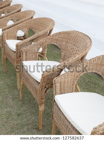 Old wicker chair - stock photo