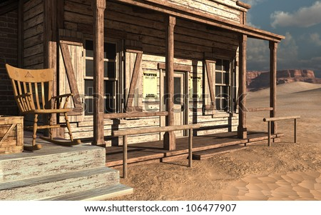 Old wild west building with a wooden chair - stock photo