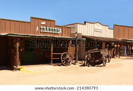 Old wild  West Cowboy Town in america - stock photo