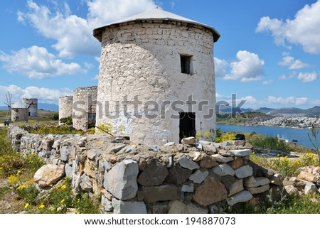 Old windmills in Bodrum, Turkey. These windmills were in use from XVIII century till 1970s - stock photo
