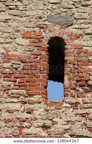 old window in ruins - stock photo