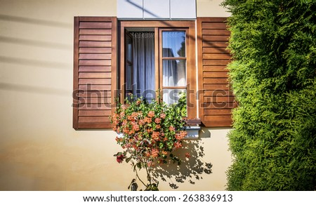 Old window with florist on wall. - stock photo