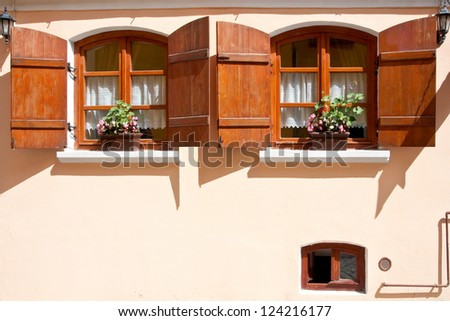 Old windows - stock photo