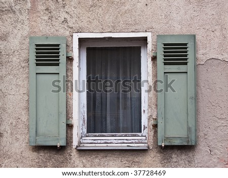 Old Windows and Shutters in Ladenburg, Germany - stock photo
