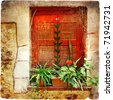 old windows of Greece - retro series - stock photo