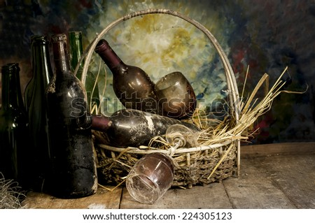 Old Wine Still Life  - stock photo
